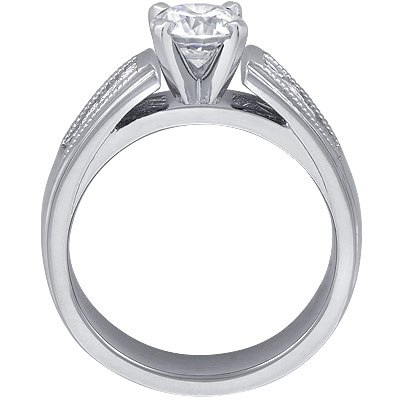 Milligrain Princess-Cut Diamond Cathedral Engagement Ring 0.32 tcw. In 14K White Gold