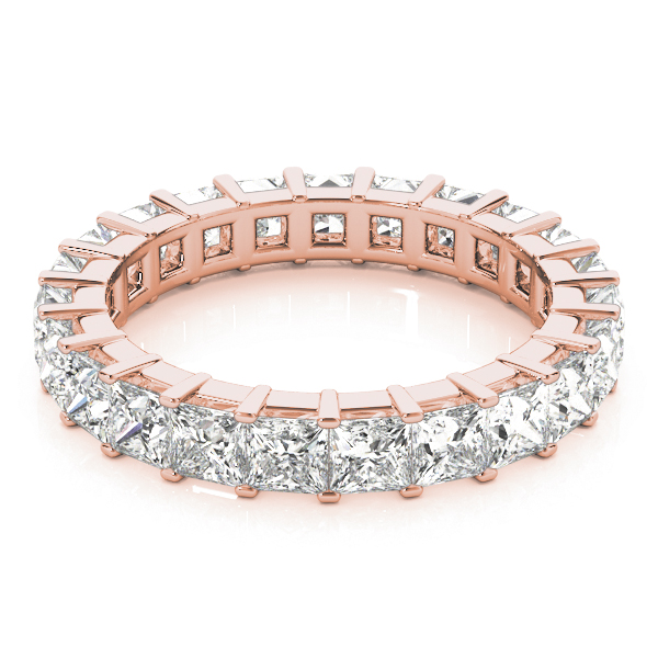 Princess Diamond Eternity Band 6.27 Ct Rose Gold