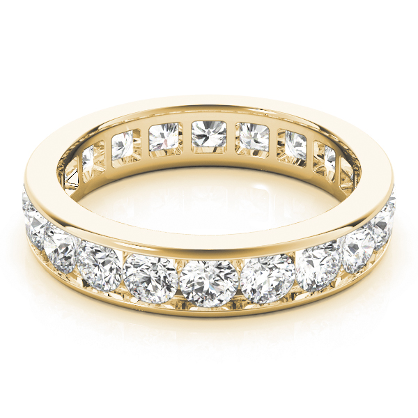 Channel Diamond Eternity Band 3.4 Ct Yellow Gold