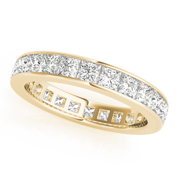 Channel Princess Diamond Eternity Band 1.58 Ct Yellow Gold