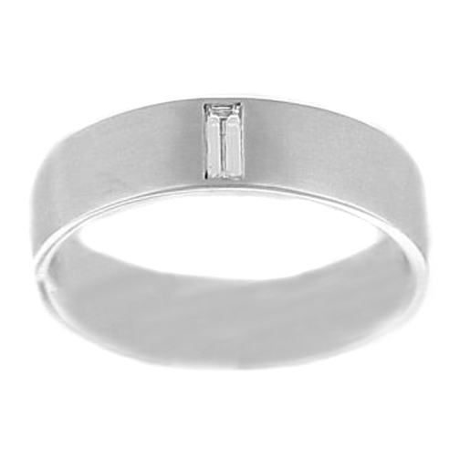 Solitaire Baguette-Cut Diamond Men's Wedding Band Bezel Set in 14K White Gold Matte finish