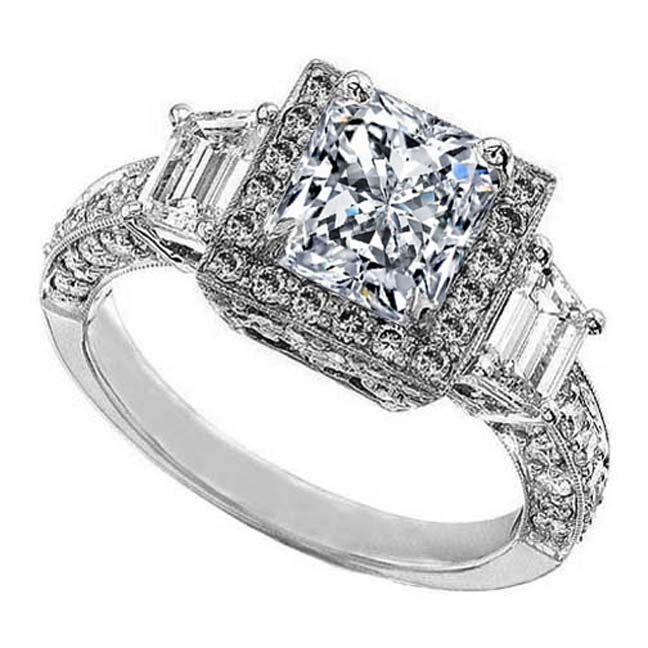 Radiant Diamond Halo Vintage Engagement Ring  trapezoids side stones in 14K White Gold