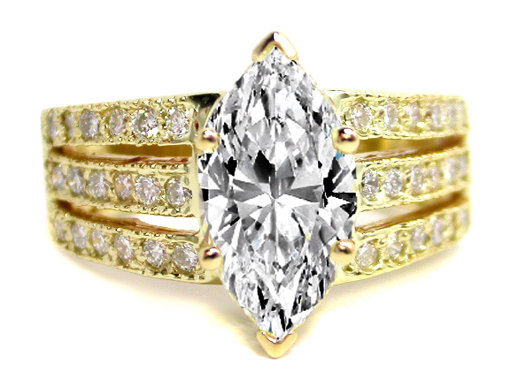 Marquise Diamond Heirloom Engagement Ring 040 Tcw In 14K Yellow Gold