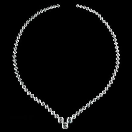 Asscher cut diamond Graduated Tennis Necklace 40 tcw.