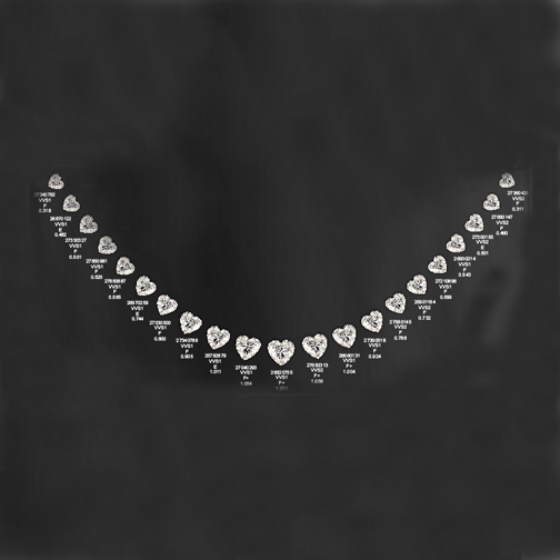 Heart Shaped Diamonds Graduated Necklace 14.98 Carat E-F VVS