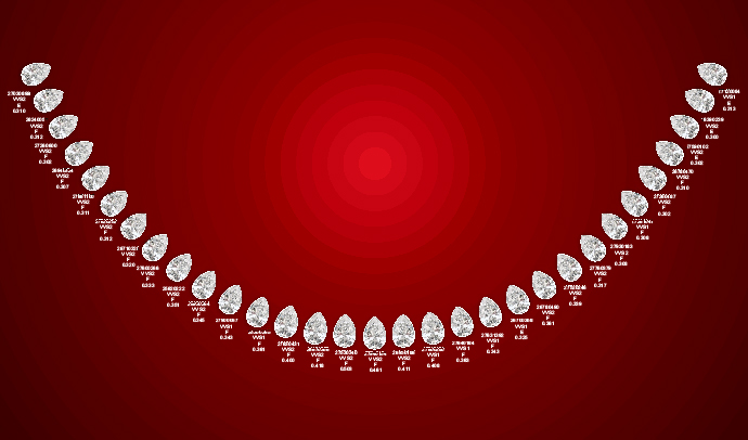 Pear Shaped Diamonds Graduated Necklace 10.60 Carat E-F VVS