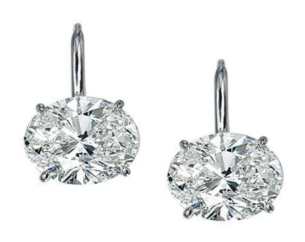 One of A Kind Oval Diamond Stud Earrings H, VVS1 1.08 tcw.