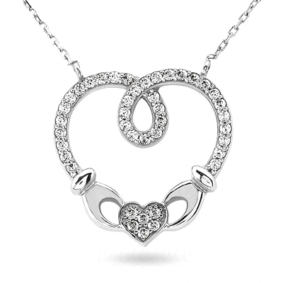 Interwined Heart Pendant With Diamond Accents