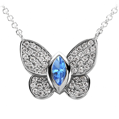 Butterfly Pendant With Diamond Accent and Blue Topaz in The Center