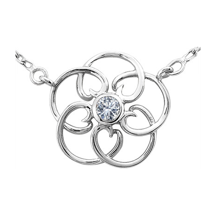Floral Pendant With Round Brilliant Cut Diamond in The Center