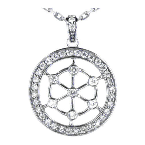 Round Diamond Wheel Pendant 0.57 tcw. In 14 Karat White Gold