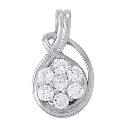Love Knot Floral Halo Diamond Pendant, 0.5tcw.