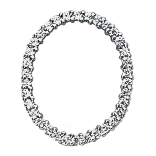 Oval Circle of Love Diamond Pendant 0.70 tcw. In 14 Karat White Gold