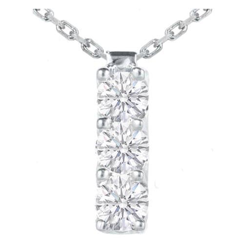 Three stone necklaces and pendants from mdc diamonds nyc 3 stone diamond drop pendant 030 tcw in 14 karat white gold aloadofball Choice Image