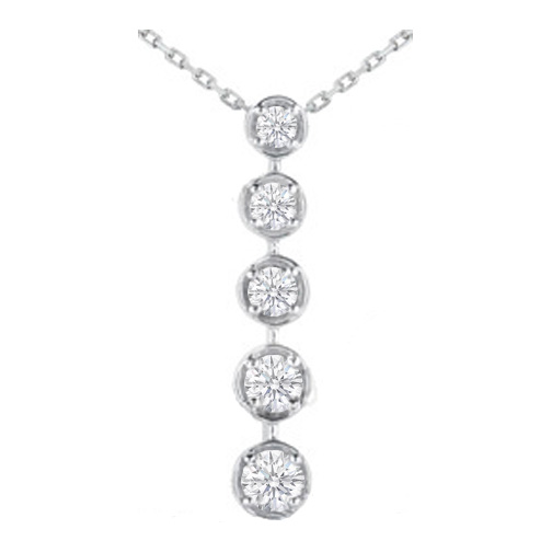 Journey - 5 Diamond Drop Pendant in 14 Karat White Gold (3.00 tcw.)