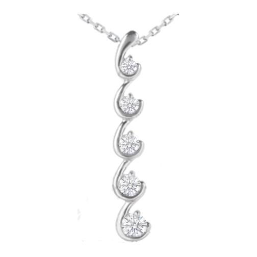 Necklaces and pendants hook shaped journey 5 diamond drop hook shaped journey 5 diamond drop pendant 14 karat white gold 050 tcw aloadofball Choice Image