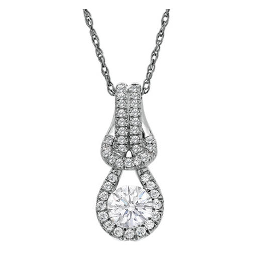 Round Diamonds Knot Pendant 1.00 tcw. Pavé Set In 14 Karat White Gold