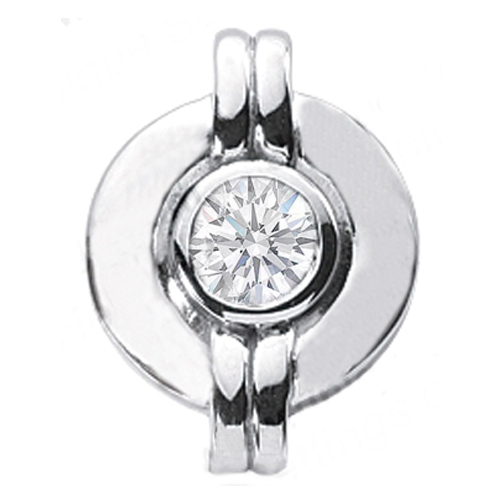 Solitaire Round Diamond Pendant 0.50 Carat Bezel Set 14 Karat White Gold