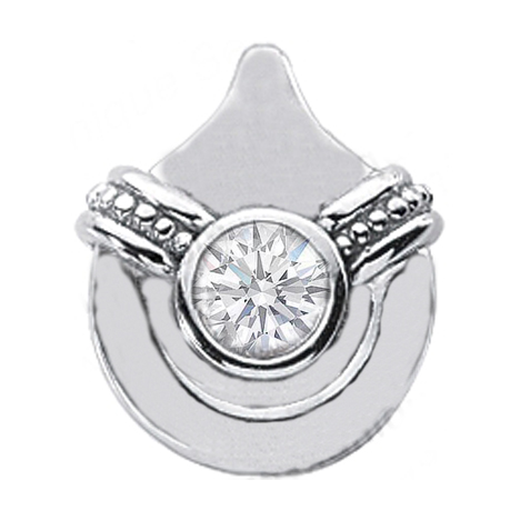 Solitaire Round Diamond Pendant 0.45 Carat Bezel Set 14 Karat White Gold