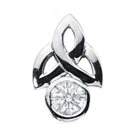 Claddagh Solitaire Round Diamond Pendant 0.85 Carat Bezel Set in 14 Karat White Gold