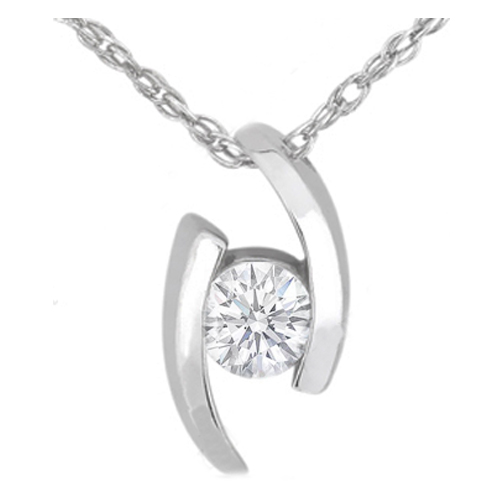 Swirl Solitaire Round Diamond Pendant 0.85 Carat in 14 Karat White Gold