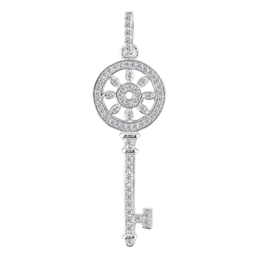 Kaleidoscope Diamond Key Pendant 0.35 tcw. In 14 Karat White Gold