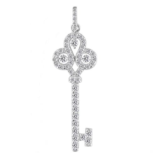Necklaces and pendants fleur de lis diamond key pendant 105 tcw fleur de lis diamond key pendant 105 tcw in 14 karat white gold mozeypictures Image collections