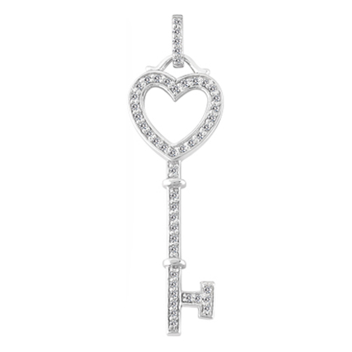 Diamond key necklaces and pendants from mdc diamonds nyc heart diamond key pendant 025 tcw in 14k white gold mozeypictures Image collections