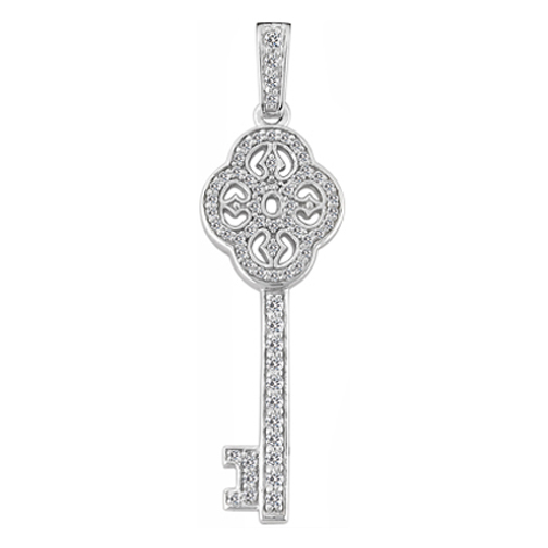 Floral Diamond Key Pendant 0.45 tcw. In 14 Karat White Gold