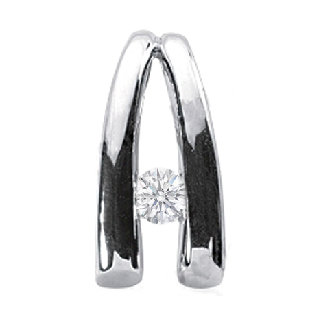 Solitaire Diamond Arch Pendant 0.15 Carat in 14 Karat White Gold