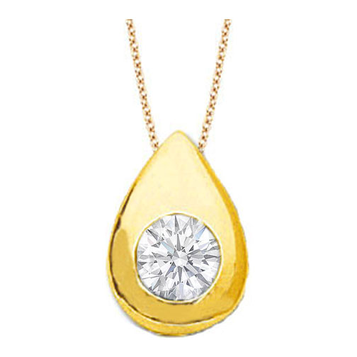 Solitaire Round Diamond Pendant 0.25 carat Tear Drop shape Bezel 14 Karat Yellow Gold