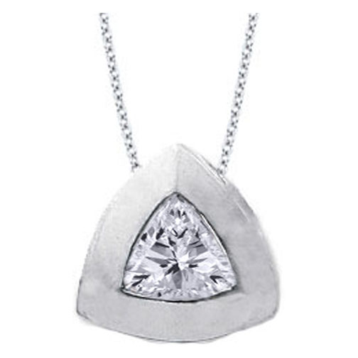 Solitaire Trillion Diamond Pendant 0.75 carat In 14 Karat White Gold