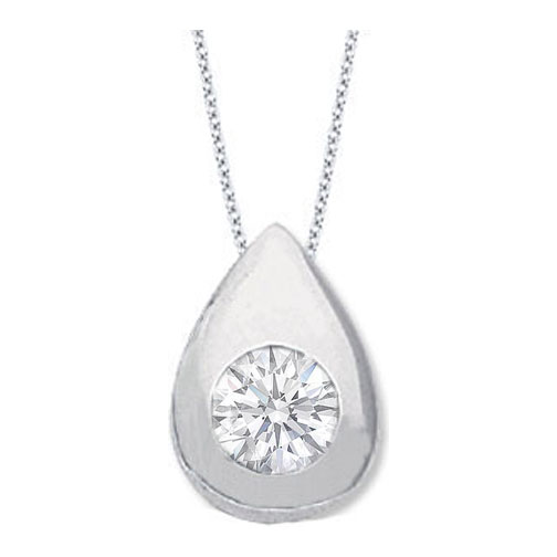 Solitaire Round Diamond Pendant 0.50 carat Tear Drop shape Bezel 14 Karat White Gold