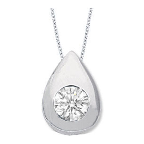 Solitaire Round Diamond Pendant 0.85 carat Tear Drop shape Bezel 14 Karat White Gold