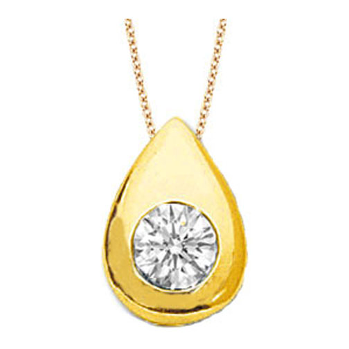Solitaire Round Diamond Pendant 0.85 carat Tear Drop shape Bezel 14 Karat Yellow Gold