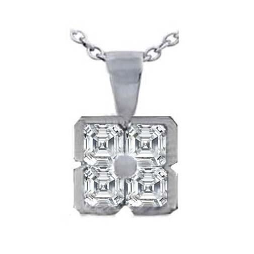 Asscher Cut Diamond Pendant 0.60 Carat G VS in 14 Karat White Gold