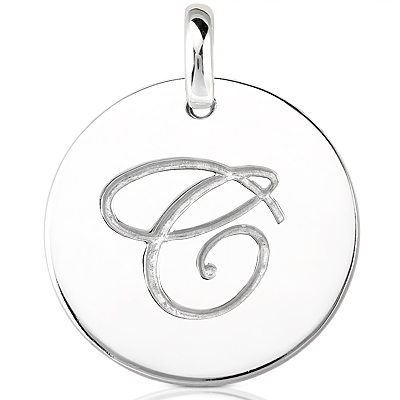 Script Round Disc Initial C Engraved in a 14 Karat White Gold Pendant
