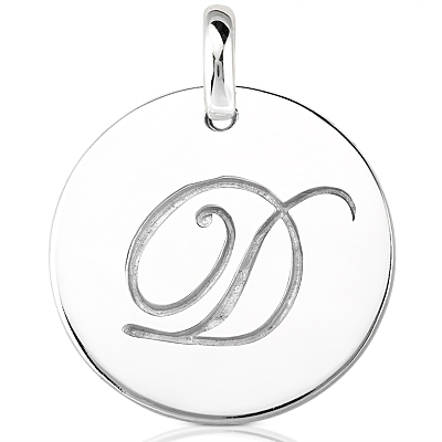 Script Round Disc Initial D Engraved in a 14 Karat White Gold Pendant