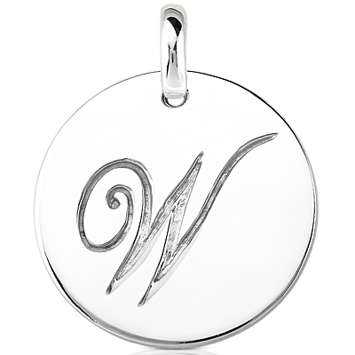 Script Round Disc Initial W Engraved in a 14 Karat White Gold Pendant