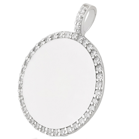 Round Engravable Disc with Diamonds in 14 Karat White Gold