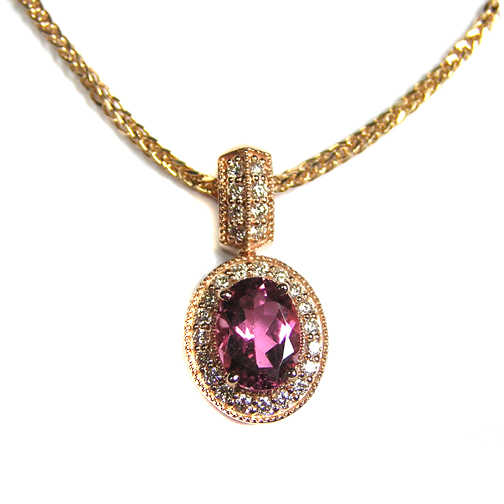 Oval Pink Tourmaline Stone set in a Pave-Set Halo 14k Pink Gold Pendant