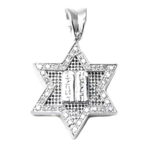Star of David Diamond Pendant 0.26 tcw Engraved in 14K White Gold