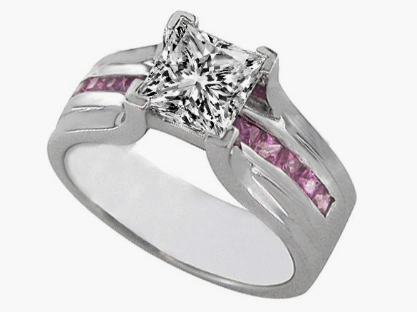 Engagement Ring Princess Cut Diamond Bridge Setting With Pink Sapphire 045 Tcw In 14K White Gold ES232PRS