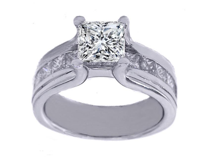 Engagement Ring Platinum Princess Diamond Bridge Engagement Ring