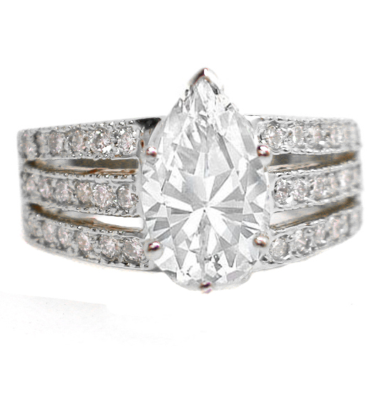 Engagement Ring -3 Row Split Band for Pear Shaped Diamond Engagement ...