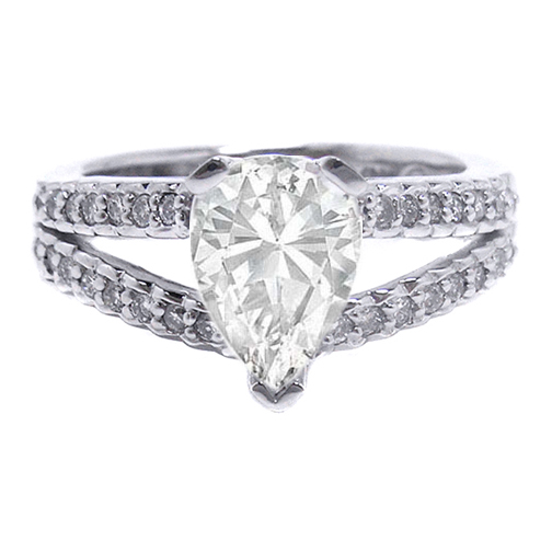Engagement Ring Pear Shape Diamond Engagement Ring Split Band Accented with