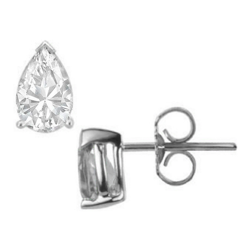 One Of A Kind Pear Shaped Diamond Stud Earrings 1.82 tcw. D VVS2 in 14 Karat White Gold