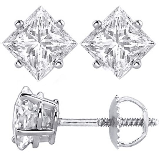 Diamond Earrings Princess Cut Stud 0 50 Tcw F G Vs In 14 Karat White Gold Rea10wfv 5