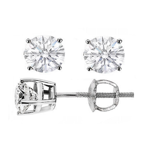 3/4 tcw. Diamond Earrings in 14 Karat White Gold, I SI2