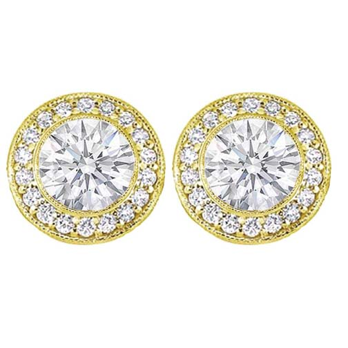 2 carats tcw. Bezel Set Round Diamond Halo Earrings in 14 Karat Yellow Gold H SI2